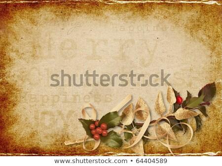 Karácsony fotó üdvözlőlap szalagok bogyók kép Stock fotó © Irisangel