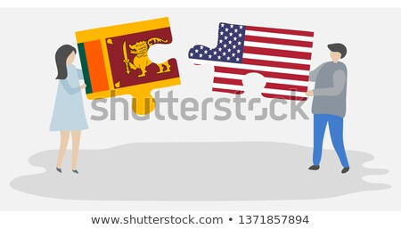 usa and sri lanka flags in puzzle stock photo © istanbul2009