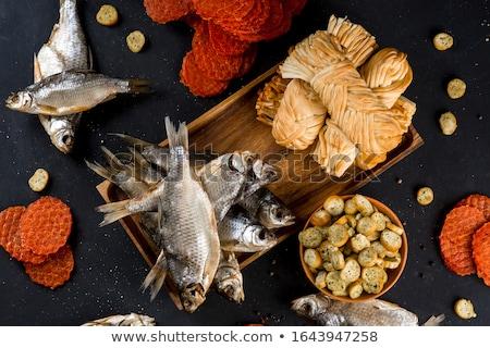Gedroogd vis houten kom business licht Stockfoto © eddows_arunothai