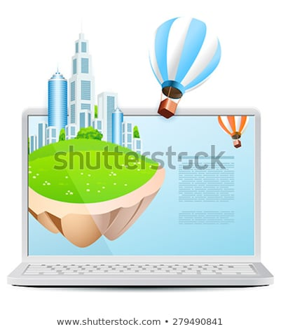 Laptop with Flying Island and Hot Air Balloon isolated on white  Stock photo © WaD