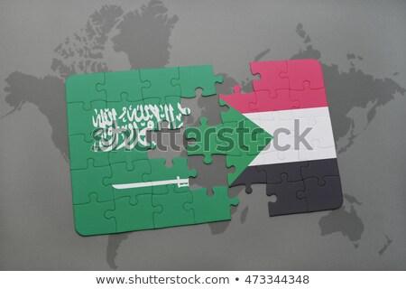 Szaúd-Arábia Szudán zászlók puzzle izolált fehér Stock fotó © Istanbul2009