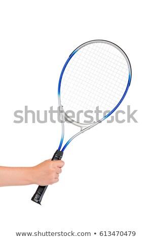 美少女 · 笑みを浮かべて · テニスラケット · 小さな · テニスコート · 美しい - ストックフォト © deandrobot
