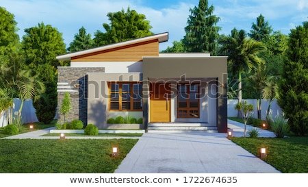 moderno · casa · céu · casa · construçao · porta - foto stock © feverpitch