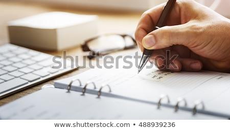 Photo stock: Contrat · note · l'ordre · du · jour · stylo · bureau · papier