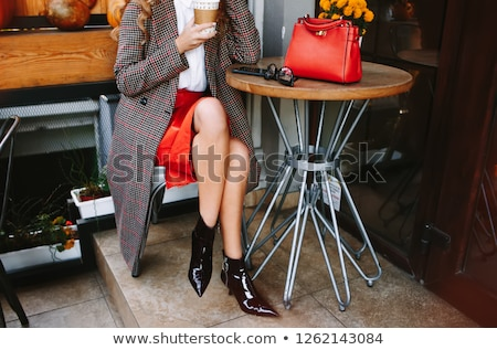 Gelukkig vrouw rode jurk handtas Stockfoto © deandrobot