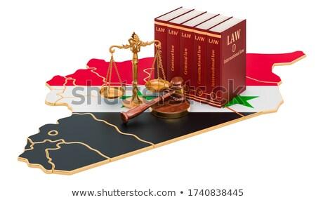 Hamer recht boek Syrië vlag justitie Stockfoto © Zerbor
