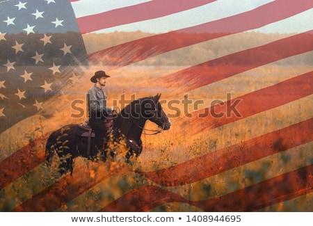 rodeó · cowboy · sziluett · jegyzet · kötél · személy - stock fotó © lunamarina