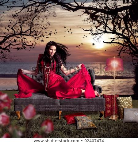 femme · cacher · belle · femme · longtemps · rose - photo stock © lubavnel