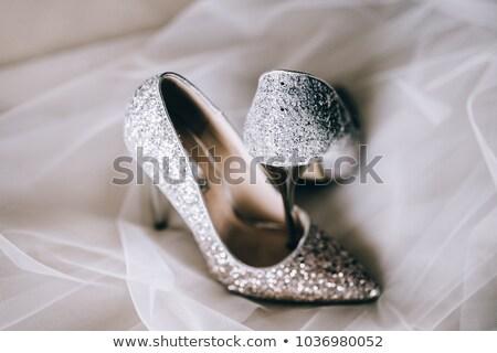 ezüst · esküvő · cipők · menyasszonyok - stock fotó © esatphotography