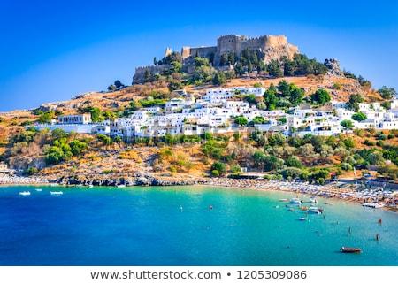 Grèce plage eau maison natation île Photo stock © AntonRomanov