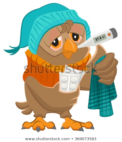 Patient owl holding thermometer and pills Stock photo © orensila