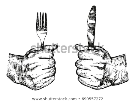 hands holding empty fork and knife Stock photo © your_lucky_photo