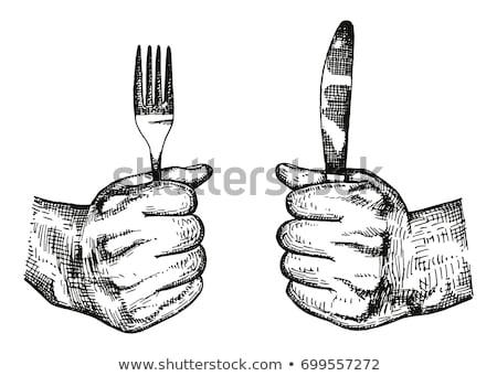 Kezek tart üres villa kés izolált Stock fotó © your_lucky_photo
