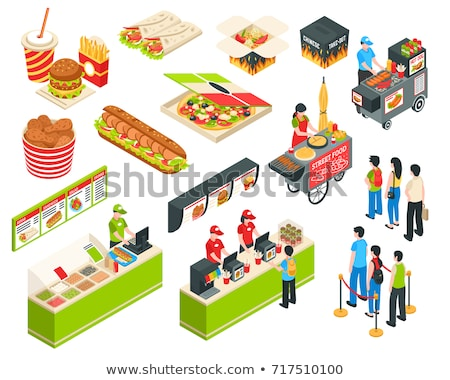 fast food isometric icons set stock photo © genestro