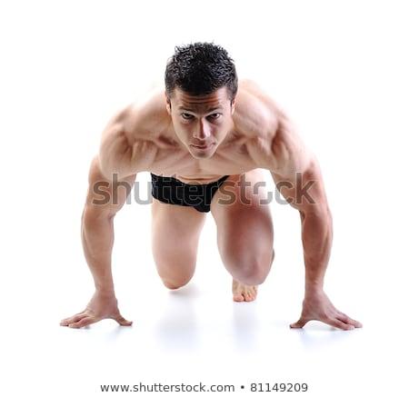 Perfekt männlich Körper Bodybuilder posiert Stock foto © zurijeta
