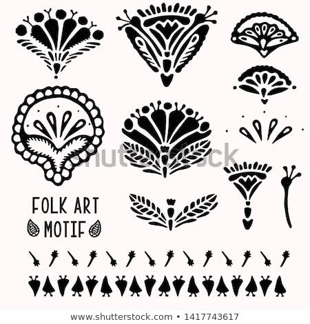 Floral folkloric elements isolated Stock photo © kariiika