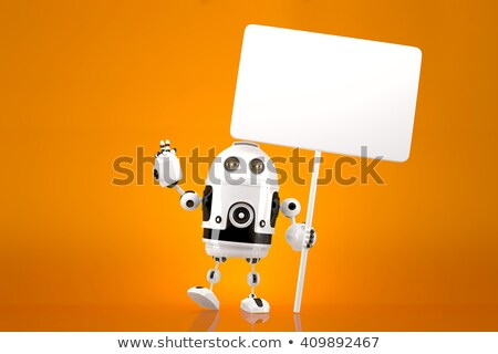 Happy cheerful Robot with blank board. 3d illustration contains  Stock photo © Kirill_M