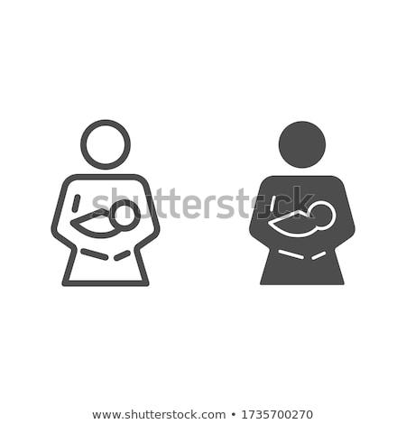 woman holding baby line icon stock photo © rastudio
