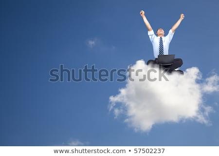 afroamerikai · férfi · felhő · papír · repülőgép · megnyugtató · kortárs - stock fotó © rastudio