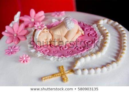 torta · keresztség · illusztráció · buli · gyermek · fiú - stock fotó © adrenalina