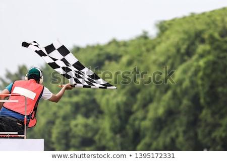 à carreaux pavillon à carreaux drapeaux moteur course Photo stock © fenton