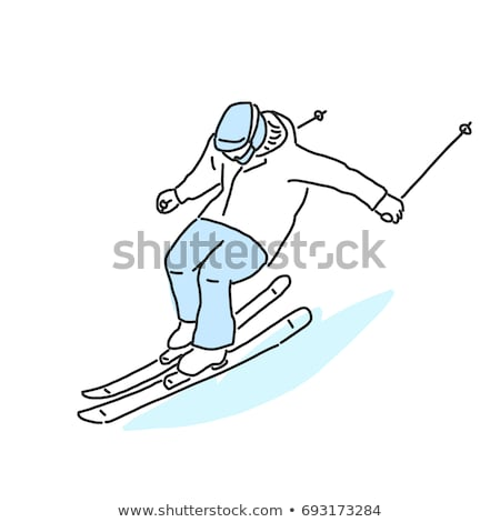 Croquis homme jouer sports d'hiver illustration blanche Photo stock © bluering