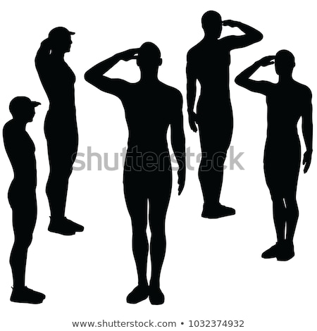 man silhouette in salute salutation pose stock photo © istanbul2009