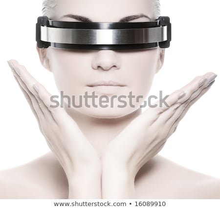 futuristic concept with techno cyber woman isolated on white stock photo © elnur
