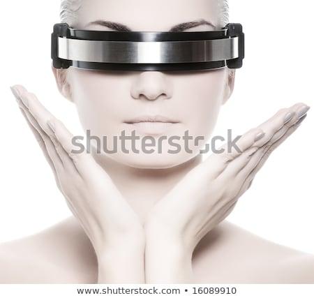 Futuristico techno donna isolato bianco mani Foto d'archivio © Elnur