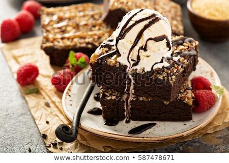 Chocolate Brownie with ice cream and raspberries Stock photo © Digifoodstock