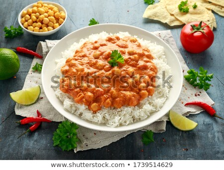 chickpea with curry cream and rice Stock photo © M-studio