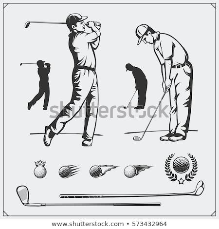 jogador · de · golfe · desenho · animado · golfe · clube · bola · jogador · de · golfe - foto stock © rastudio