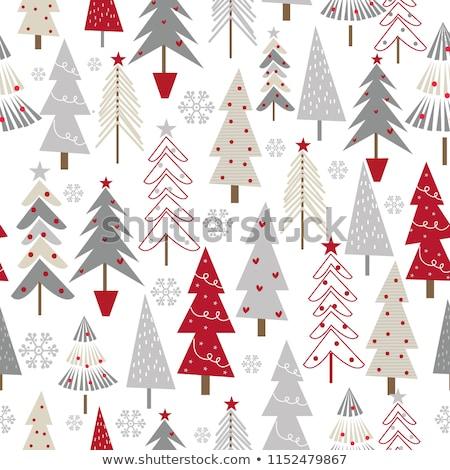 Stock fotó: Karácsony · kézzel · rajzolt · végtelen · minta · díszít · hópelyhek · fenyő