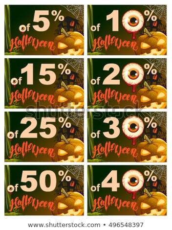 Procent korting halloween verkoop pompoen lantaarn Stockfoto © orensila