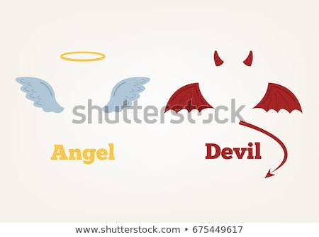 Stock fotó: Ellenkező · karakter · angyal · ördög · illusztráció · háttér