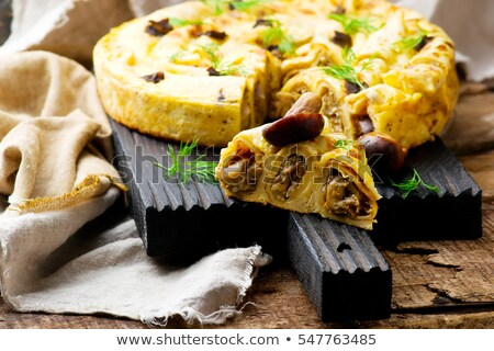 Blinis Pie With Forest Mushrooms Selective Focus Stok fotoğraf © zoryanchik