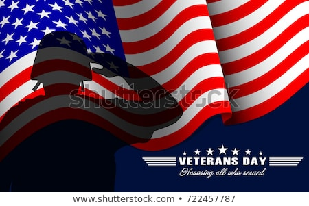 November 11 Veterans Day. Lettering text and US flag Stock photo © orensila