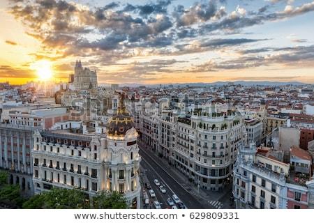 Panoramę Madryt Hiszpania panoramiczny widoku zmierzch Zdjęcia stock © joyr