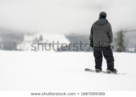 лыжник горизонте зима пейзаж Blue Sky синий Сток-фото © artush