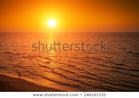 Mediterranean sea beautiful orange sunset travel background. Stock photo © tuulijumala