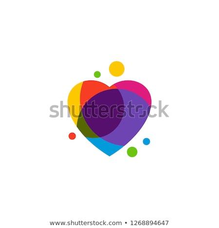 虹色 心臓の形態 幸せ 中心 塗料 アーティスト ストックフォト © meinzahn