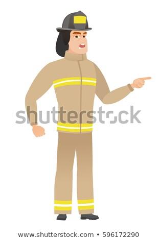 Furioso bombeiro gritando indicação dedo direito Foto stock © RAStudio