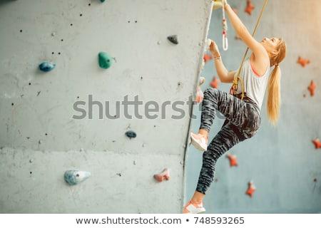 Tırmanma dikey duvar örnek adam kaya Stok fotoğraf © adrenalina