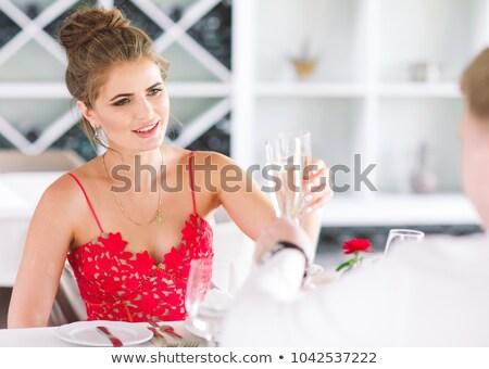 Kettő párok belső udvar iszik pezsgő mosolyog Stock fotó © monkey_business