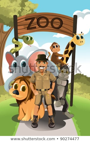 Zookeeper And Wild Animals At Zoo Entrance Stockfoto © Artisticco