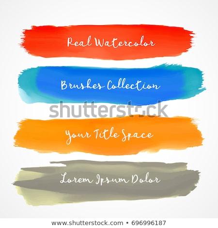four real watercolor vector brush stroke set Stock photo © SArts