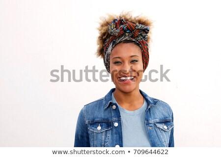 Сток-фото: портрет · улыбающаяся · женщина · шарф · белый
