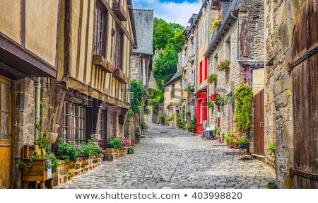 Medieval Cobbled Street in Dinan, Brittany, France Stock photo © smartin69
