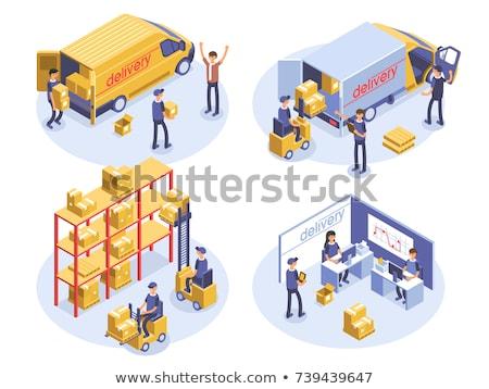 isometric cargo trucks stock photo © genestro