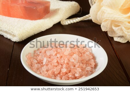 Course pink Himalayan salt in a bowl Stock photo © tish1